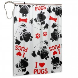 Black Red And White Pug Dogs Pattern Shower Curtain , Shower Bathroom Curtain 55x72 Inch Waterproof Fabric with Hooks , Wildly used in bathroom and hotel etc.