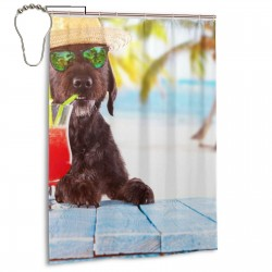 Black Mutt Dog Posing On The Beach Shower Curtain , Shower Bathroom Curtain 55x72 Inch Waterproof Fabric with Hooks , Wildly used in bathroom and hotel etc.