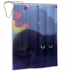 Black Cute Color Cloud Shower Curtain , Shower Bathroom Curtain 55x72 Inch Waterproof Fabric with Hooks , Wildly used in bathroom and hotel etc.