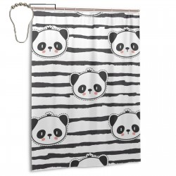 Black And White Panda Bear Strip Shower Curtain , Shower Bathroom Curtain 55x72 Inch Waterproof Fabric with Hooks , Wildly used in bathroom and hotel etc.
