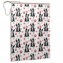 Black And White Gou Pattern Shower Curtain , Shower Bathroom Curtain 55x72 Inch Waterproof Fabric with Hooks , Wildly used in bathroom and hotel etc.