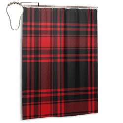 Black And Red Plaid Shower Curtain , Shower Bathroom Curtain 55x72 Inch Waterproof Fabric with Hooks , Wildly used in bathroom and hotel etc.