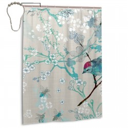 Birds The Bees Shower Curtain , Shower Bathroom Curtain 55x72 Inch Waterproof Fabric with Hooks , Wildly used in bathroom and hotel etc.