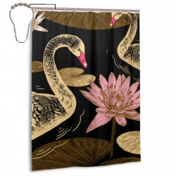 Birds Swans Flowers And Leaves Shower Curtain , Shower Bathroom Curtain 55x72 Inch Waterproof Fabric with Hooks , Wildly used in bathroom and hotel etc.