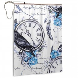 Bird Clock Shower Curtain , Shower Bathroom Curtain 55x72 Inch Waterproof Fabric with Hooks , Wildly used in bathroom and hotel etc.