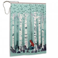 Birches Shower Curtain , Shower Bathroom Curtain 55x72 Inch Waterproof Fabric with Hooks , Wildly used in bathroom and hotel etc.
