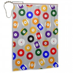 Billiard Ball Shower Curtain , Shower Bathroom Curtain 55x72 Inch Waterproof Fabric with Hooks , Wildly used in bathroom and hotel etc.