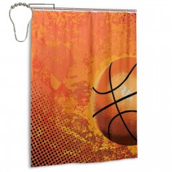 Big Basketball Shower Curtain , Shower Bathroom Curtain 55x72 Inch Waterproof Fabric with Hooks , Wildly used in bathroom and hotel etc.