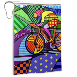 Bicycle Pop Art Shower Curtain , Shower Bathroom Curtain 55x72 Inch Waterproof Fabric with Hooks , Wildly used in bathroom and hotel etc.