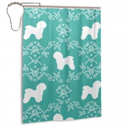 Bichon Frise Floral Silhouette Dog Shower Curtain , Shower Bathroom Curtain 55x72 Inch Waterproof Fabric with Hooks , Wildly used in bathroom and hotel etc.
