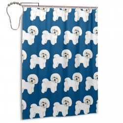 Bichon On Blue Shower Curtain , Shower Bathroom Curtain 55x72 Inch Waterproof Fabric with Hooks , Wildly used in bathroom and hotel etc.