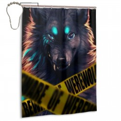 Beware Of Werewolf Shower Curtain , Shower Bathroom Curtain 55x72 Inch Waterproof Fabric with Hooks , Wildly used in bathroom and hotel etc.