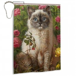 Berman Cat Shower Curtain , Shower Bathroom Curtain 55x72 Inch Waterproof Fabric with Hooks , Wildly used in bathroom and hotel etc.