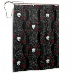 Skeleton Flower Shower Curtain , Shower Bathroom Curtain 55x72 Inch Waterproof Fabric with Hooks , Wildly used in bathroom and hotel etc.