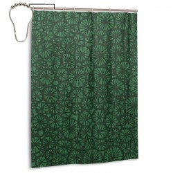 Sakura Green Shower Curtain , Shower Bathroom Curtain 55x72 Inch Waterproof Fabric with Hooks , Wildly used in bathroom and hotel etc.