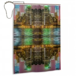 Rukes NYC Nights Shower Curtain , Shower Bathroom Curtain 55x72 Inch Waterproof Fabric with Hooks , Wildly used in bathroom and hotel etc.