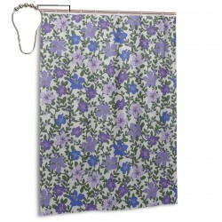 Rose And Hubble Ivy's Flowers Purple Shower Curtain , Shower Bathroom Curtain 55x72 Inch Waterproof Fabric with Hooks , Wildly used in bathroom and hotel etc.