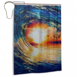 Riptide Shower Curtain , Shower Bathroom Curtain 55x72 Inch Waterproof Fabric with Hooks , Wildly used in bathroom and hotel etc.