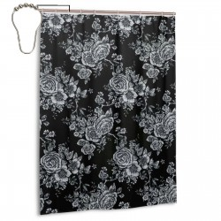 Retro Rose Pattern Shower Curtain , Shower Bathroom Curtain 55x72 Inch Waterproof Fabric with Hooks , Wildly used in bathroom and hotel etc.
