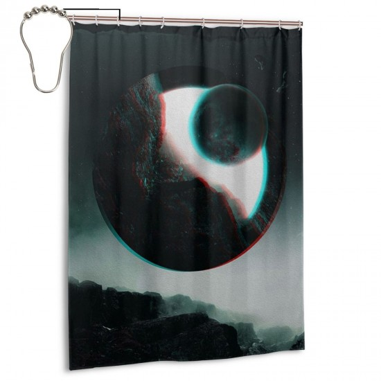 Quantum Eclipse Shower Curtain , Shower Bathroom Curtain 55x72 Inch Waterproof Fabric with Hooks , Wildly used in bathroom and hotel etc.