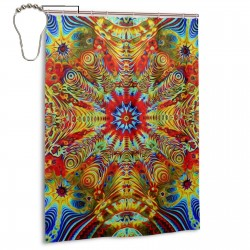 Psychedelic Trippy2 Shower Curtain , Shower Bathroom Curtain 55x72 Inch Waterproof Fabric with Hooks , Wildly used in bathroom and hotel etc.