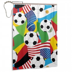 Pill Fleece Soccer Shower Curtain , Shower Bathroom Curtain 55x72 Inch Waterproof Fabric with Hooks , Wildly used in bathroom and hotel etc.