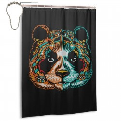 Pandamonium Shower Curtain , Shower Bathroom Curtain 55x72 Inch Waterproof Fabric with Hooks , Wildly used in bathroom and hotel etc.