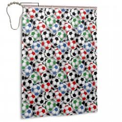 Packed Soccer Shower Curtain , Shower Bathroom Curtain 55x72 Inch Waterproof Fabric with Hooks , Wildly used in bathroom and hotel etc.