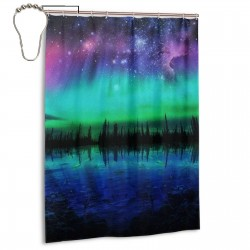 Northern Lights Shower Curtain , Shower Bathroom Curtain 55x72 Inch Waterproof Fabric with Hooks , Wildly used in bathroom and hotel etc.