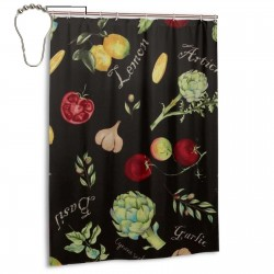 Lemon, Tomato, Garlic Shower Curtain , Shower Bathroom Curtain 55x72 Inch Waterproof Fabric with Hooks , Wildly used in bathroom and hotel etc.