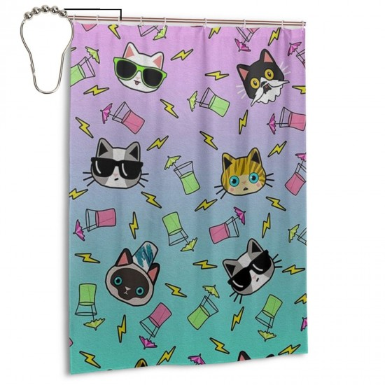 Kitty Cocktail Shower Curtain , Shower Bathroom Curtain 55x72 Inch Waterproof Fabric with Hooks , Wildly used in bathroom and hotel etc.