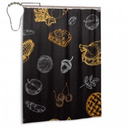 Halloween Elements Shower Curtain , Shower Bathroom Curtain 55x72 Inch Waterproof Fabric with Hooks , Wildly used in bathroom and hotel etc.