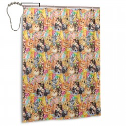 Happy Animals Shower Curtain , Shower Bathroom Curtain 55x72 Inch Waterproof Fabric with Hooks , Wildly used in bathroom and hotel etc.