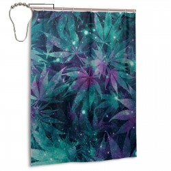Ganja Galaxy Shower Curtain , Shower Bathroom Curtain 55x72 Inch Waterproof Fabric with Hooks , Wildly used in bathroom and hotel etc.
