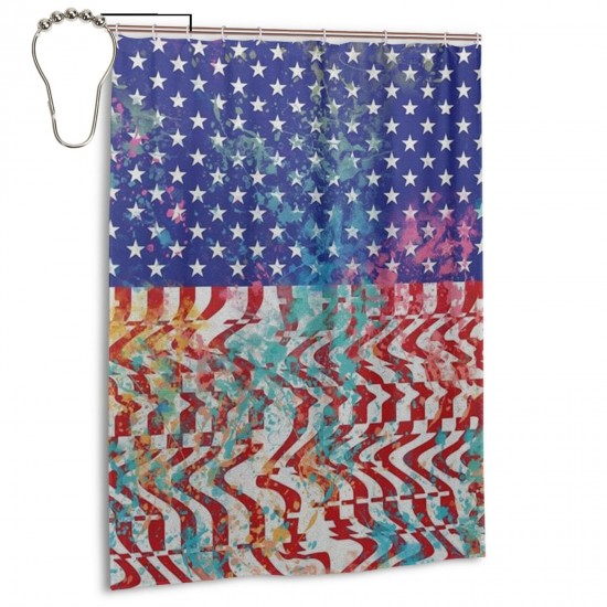 Freedom Shower Curtain , Shower Bathroom Curtain 55x72 Inch Waterproof Fabric with Hooks , Wildly used in bathroom and hotel etc.