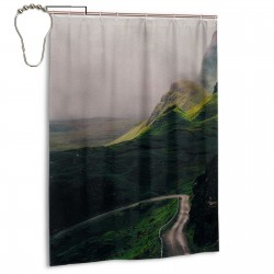 Emerald Slopes Shower Curtain , Shower Bathroom Curtain 55x72 Inch Waterproof Fabric with Hooks , Wildly used in bathroom and hotel etc.
