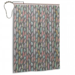 Ethnic Feathers Grey Shower Curtain , Shower Bathroom Curtain 55x72 Inch Waterproof Fabric with Hooks , Wildly used in bathroom and hotel etc.