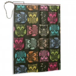 Cute Owl Pattern Shower Curtain , Shower Bathroom Curtain 55x72 Inch Waterproof Fabric with Hooks , Wildly used in bathroom and hotel etc.