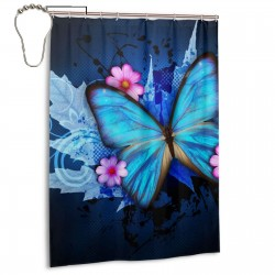 Butterfly Shower Curtain , Shower Bathroom Curtain 55x72 Inch Waterproof Fabric with Hooks , Wildly used in bathroom and hotel etc.