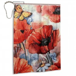 Butterfly Flowers Shower Curtain , Shower Bathroom Curtain 55x72 Inch Waterproof Fabric with Hooks , Wildly used in bathroom and hotel etc.