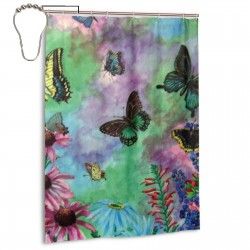 Butterflies Shower Curtain , Shower Bathroom Curtain 55x72 Inch Waterproof Fabric with Hooks , Wildly used in bathroom and hotel etc.