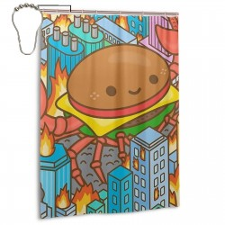 Burger Shower Curtain , Shower Bathroom Curtain 55x72 Inch Waterproof Fabric with Hooks , Wildly used in bathroom and hotel etc.