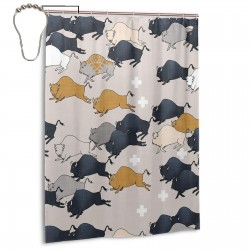 Buffalo Stampede Shower Curtain , Shower Bathroom Curtain 55x72 Inch Waterproof Fabric with Hooks , Wildly used in bathroom and hotel etc.