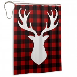 Buffalo Plaid Moose Shower Curtain , Shower Bathroom Curtain 55x72 Inch Waterproof Fabric with Hooks , Wildly used in bathroom and hotel etc.