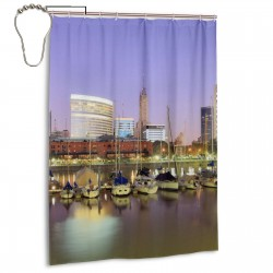 Buenos Aires Pontos Turisticos Shower Curtain , Shower Bathroom Curtain 55x72 Inch Waterproof Fabric with Hooks , Wildly used in bathroom and hotel etc.