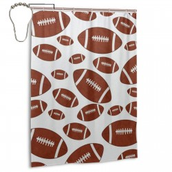 Brown And White Football Tile Pattern Shower Curtain , Shower Bathroom Curtain 55x72 Inch Waterproof Fabric with Hooks , Wildly used in bathroom and hotel etc.