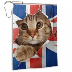 British UK Flag Cat Kitten Shower Curtain , Shower Bathroom Curtain 55x72 Inch Waterproof Fabric with Hooks , Wildly used in bathroom and hotel etc.