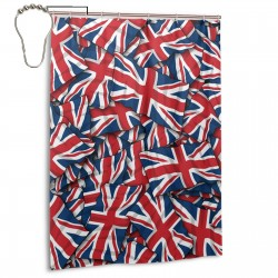 British England Flags Shower Curtain , Shower Bathroom Curtain 55x72 Inch Waterproof Fabric with Hooks , Wildly used in bathroom and hotel etc.