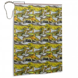 Bright Colored Lizards Tree Branch Shower Curtain , Shower Bathroom Curtain 55x72 Inch Waterproof Fabric with Hooks , Wildly used in bathroom and hotel etc.