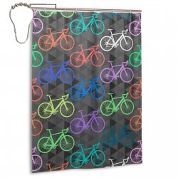Bright Bikes Shower Curtain , Shower Bathroom Curtain 55x72 Inch Waterproof Fabric with Hooks , Wildly used in bathroom and hotel etc.